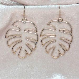 NEW Gold Palm Leaf Earrings